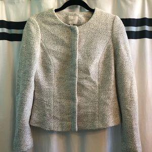 Ann Taylor Loft Grey and White Tweed Blazer